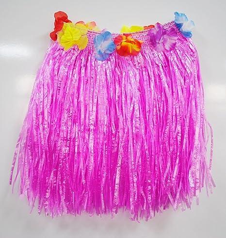 HULASKIRT Falda de hierba hawaiana flor 40 cm de largo para mujer ...