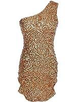 Anna-Kaci Womens Gold Sequin One Shoulder Sleeveless Short Mini Cocktail Dress