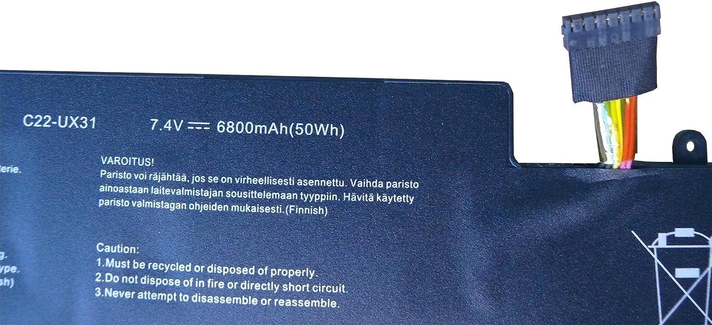7.4V 6800mAh, 12 Months Warranty ASUS ZenBook UX31 UX31E Series. ASUS UX31 UX31E Ultrabook Series 6800mAh Batterytec/® Laptop Battery for ASUS C22-UX31 ASUS UX31 Series