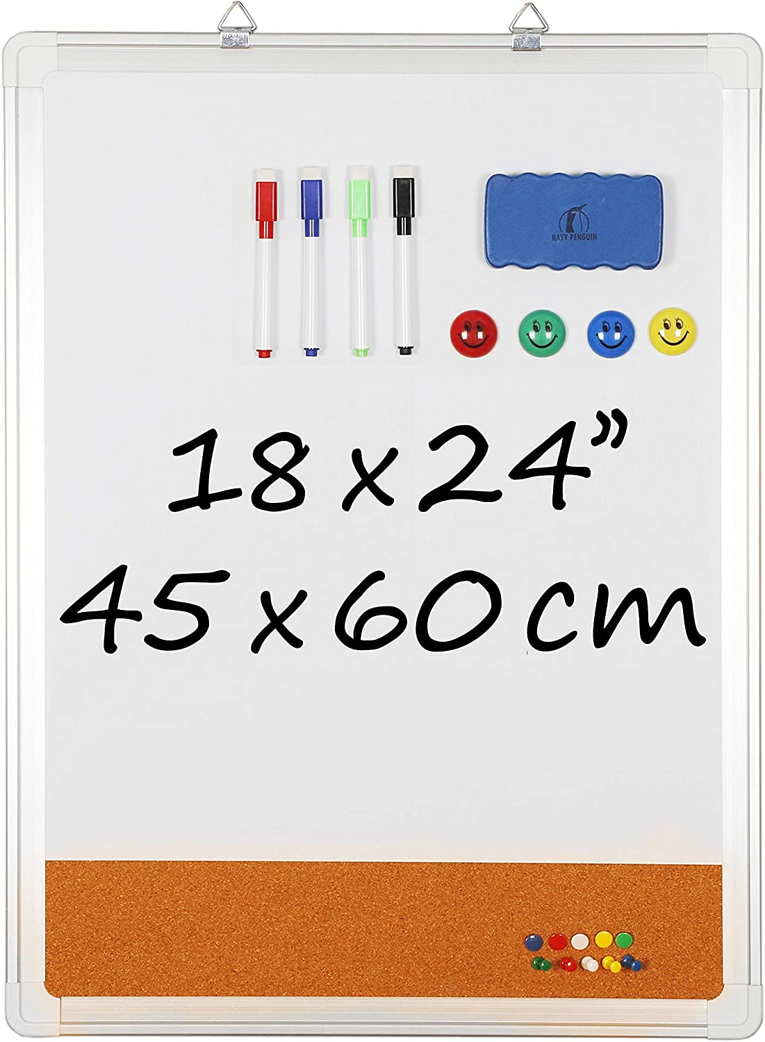 """Whiteboard Bulletin Board Set - 18 x 24"""" Dry Erase/Cork Board + 1 Magnetic Eraser, 4 Dry Wipe Markers, 4 Magnets and 10 Pins - Small Wall Hanging Notice White Tack Board for Home and Office"""