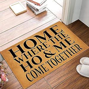 Joelmat Home, Where The Ho & Me Come Together Entrance Non-Slip Indoor Rubber Door Mats for Front Door/Bathroom/Garden/Kitchen/Bedroom 23.6