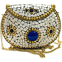Bolso de novia estilo hindú étnico, bolsa de fiesta, bolsa de boda para mujer, bolsa de embrague de metal Shell clutch…