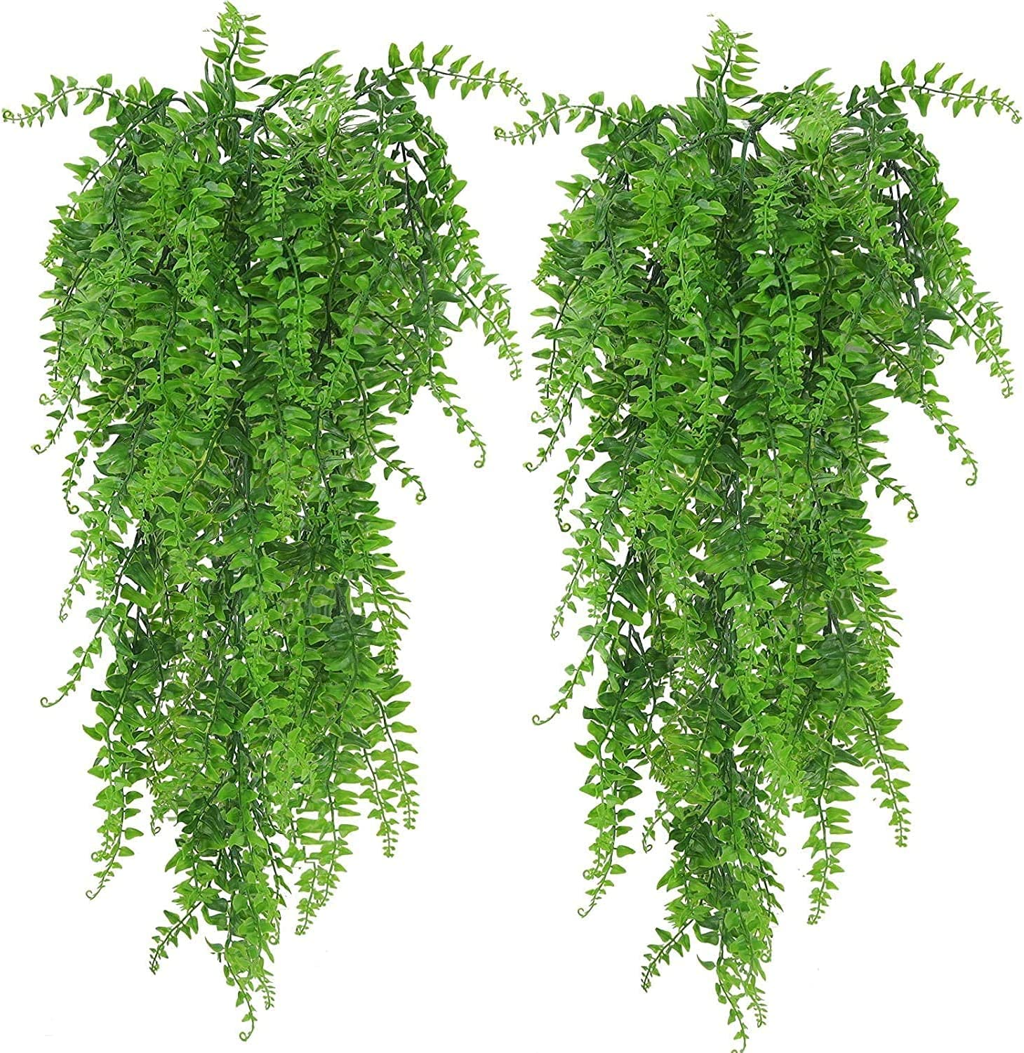 ADORAMOUR 2Pack Fake Hanging Plants for Room Decor Aesthetic, Artificial Plant Faux Vines Wall Decorations for Home Bedroom Garden Patio Porch Balcony Indoor Outdoor