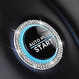 Bling Car Decor Crystal [2 Row Rhinestones] Ring Emblem Sticker,Bling Car Accessories for Women,Car Interior Decoration,Push