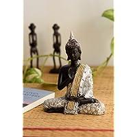 eCraftIndia Handcrafted Meditating Lord Buddha Polyresin Idol (15 cm x 7.5 cm x 20 cm)