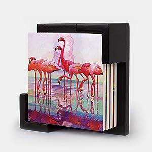 Monarque Ceramic Four Drink Coasters and Holder (Pink Flamingos)