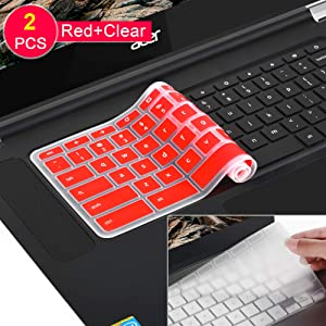 [2 Pack] Keyboard Cover Skin for 2018/2017 Newest Acer Premium R11 Chromebook R 11 CB3-131 CB3-132,CB5-132T,CB3-131,Chromebook R 13 CB5-312T,Chromebook 15,CB3-531 CB3-532 CB5-571 C910,Clear+red