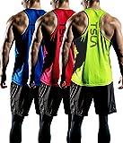 (テスラ)TESLA メッシュ ハイパードライ レーサーバック タンクトップ シングレットシャツ 3枚セット [UVカット・吸汗速乾・超軽量] メンズ MTN33
