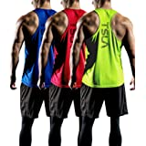 TSLA 3 Pack Men's Dry Fit Y-Back Muscle Workout Tank Tops, Athletic Training Gym Tank Top, Sleeveless Bodybuilding Shirts