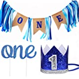 Leedemore Baby 1st Birthday Boy Decorations Crown - Baby Boy First Birthday Decorations High Chair Banner ONE Burlap Banner, No.1 Crown, Glitter Cake Topper Birthday Party Decorations Supplies