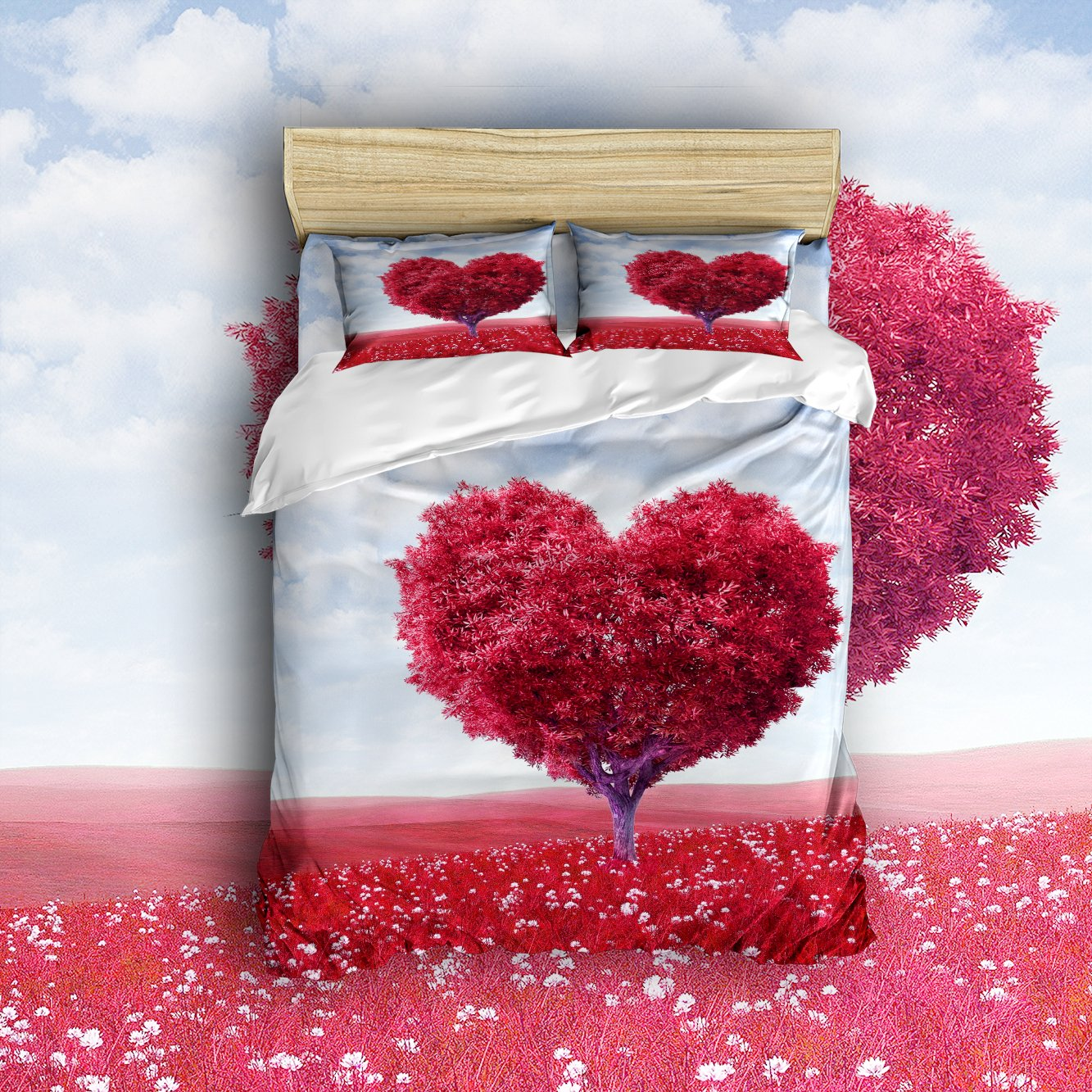 Libaoge 4 Piece Bed Sheets Set, Heart Shaped Red Valentine Oak Tree Of Love  And