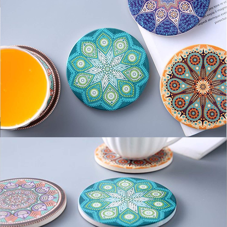 Untersetzer Keramik 4 St/ück Absorbierenden Untersetzer Saugf/ähige mit Korkr/ücken f/ür Tassen Tisch Bar Glas Bohemia Stil