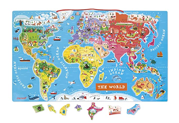 Janod j05504 wooden magnetic world map puzzle english version 92 janod j05504 wooden magnetic world map puzzle english version 92 pieces janod amazon toys games gumiabroncs Image collections