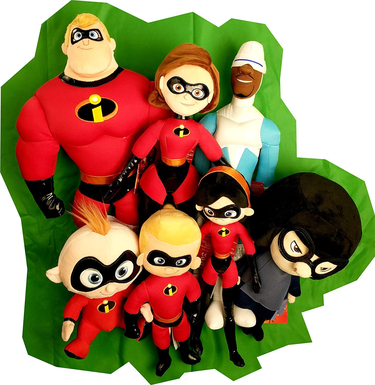 Amazon Com Incredibles 2 Plush Figure Toy Set Mr Incredible Elastigirl Dash Jack Jack Violet Frozone Edna Mode Movie Merchandise Collectible Toys Games