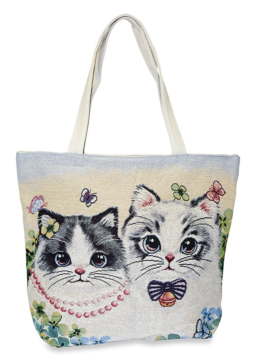 0c50bb2299 Amazon.com | Cat Tapestry Tote Bag X-Large, Pretty Beige | Travel Totes