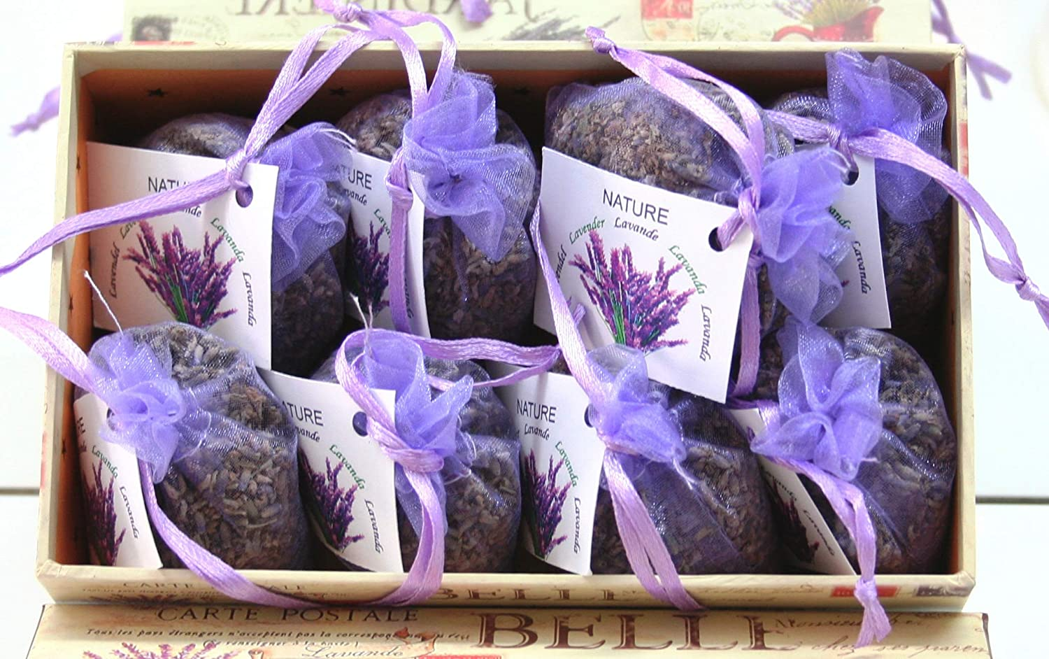 Direct Glogal Lavender Sachets 8 x 10 grams + Decorative Box. Great house decoration. Lavender bags are great aromatherapy a natural moth repellent. Excelent gift! Direct Global