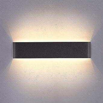 Yafido Aplique Pared Interior LED 14W Lámpara de pared Moderna Negro Blanco Cálido Aluminio Acrílico perfecto para Salon Dormitorio Sala Pasillo Escalera 40CM: Amazon.es: Iluminación
