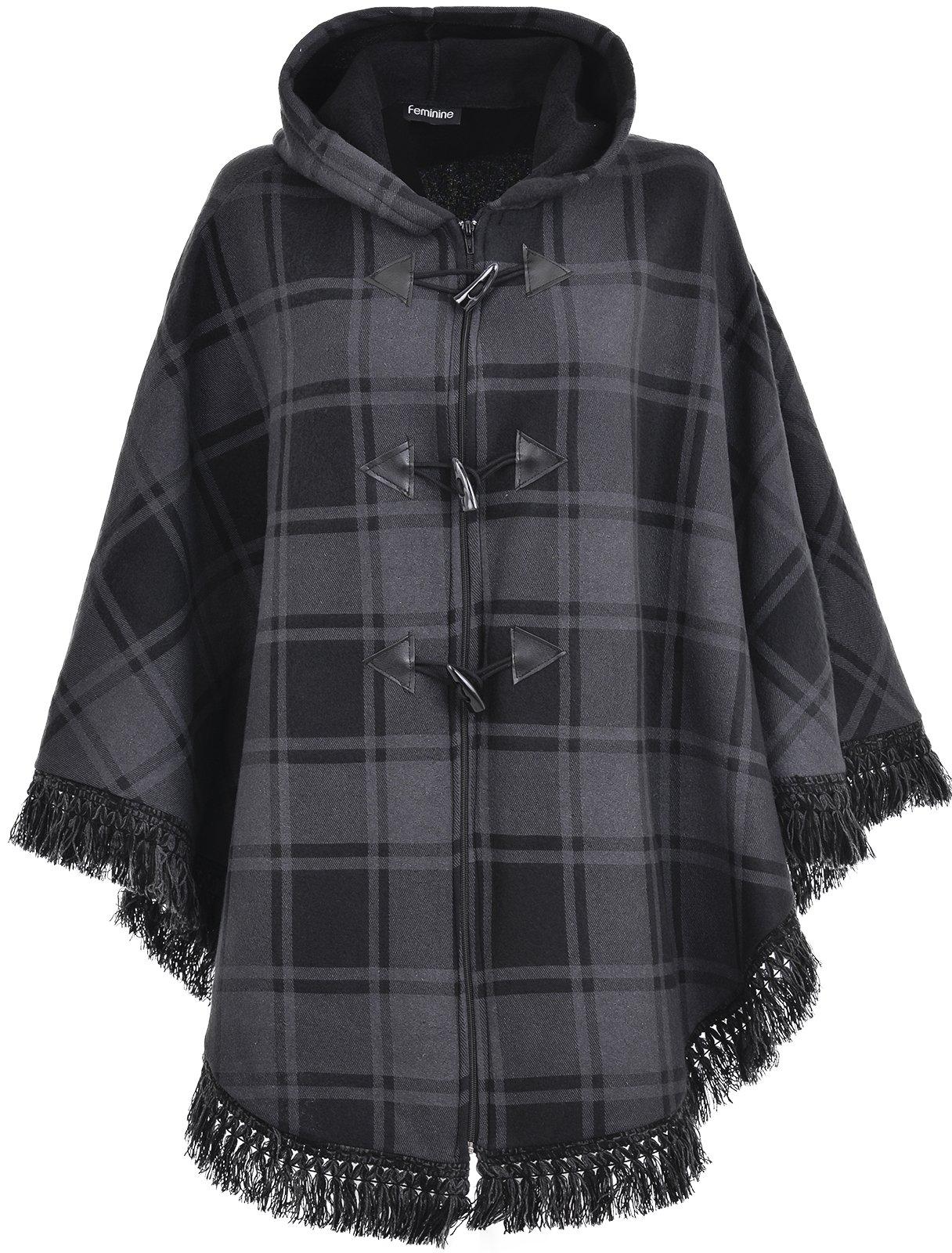 RG Clothing Ladies Women Warm Fleece Fleecy Hooded Ponchos
