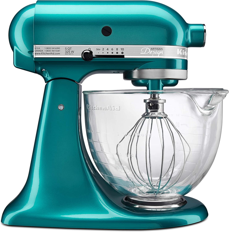 Amazon Com Kitchenaid Ksm155gbsa 5 Qt Artisan Design Series With Glass Bowl Sea Glass Kitchen Dining