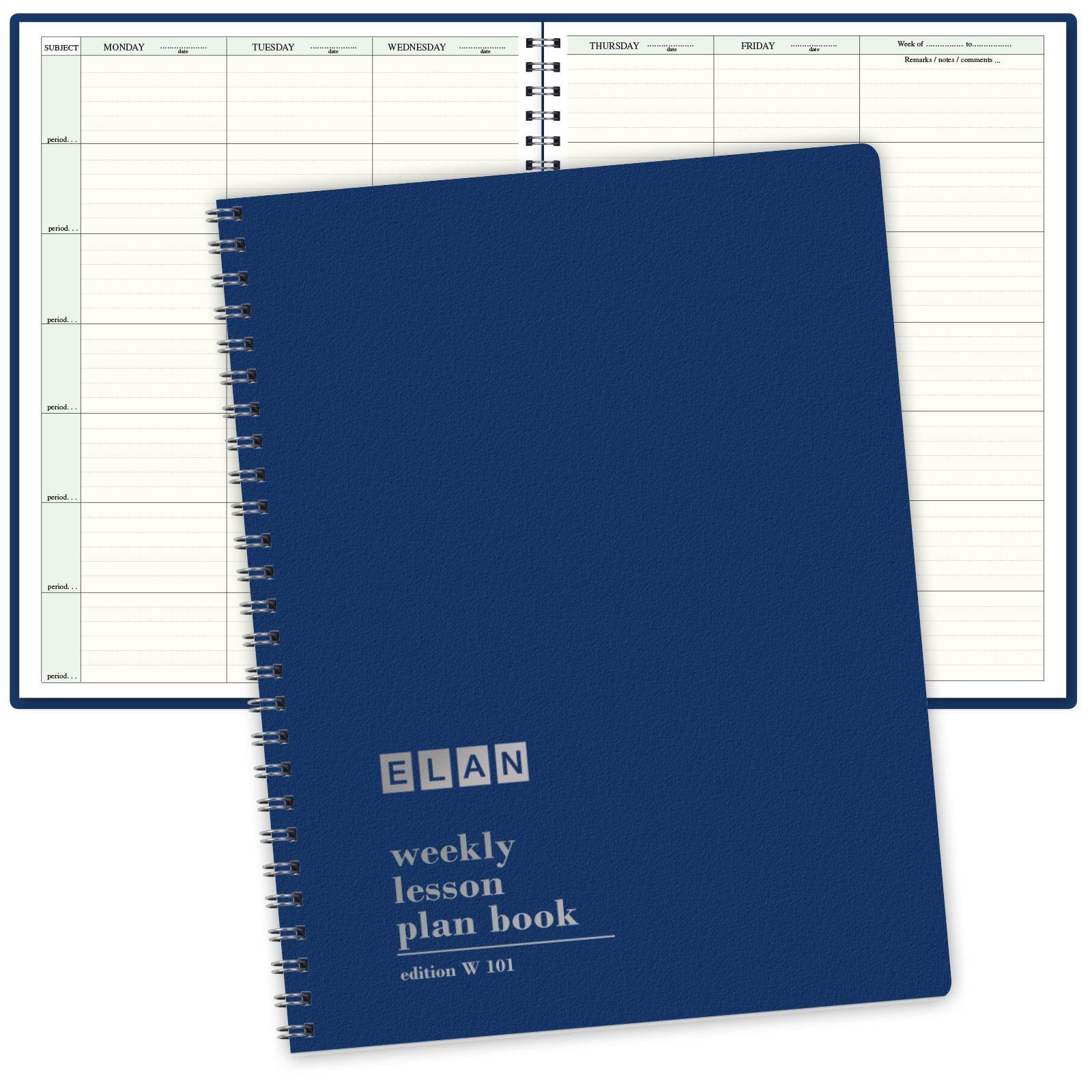 7 Period Teacher Lesson Plan; Days Horizontally Across the Top (W101) by Elan Publishing Company