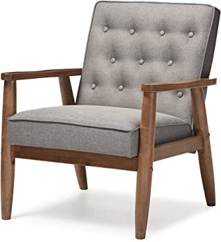 Baxton Studio Modern Fabric Upholstered Wooden Lounge Chair