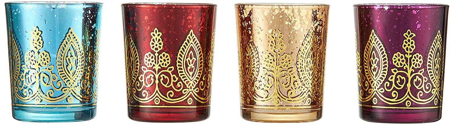 Kate Aspen Indian Jewel Henna Glass Votives, Tealight Candle Holders, Wedding Decorations/Favors,Assorted Colors (Set of 4) (20177NA)