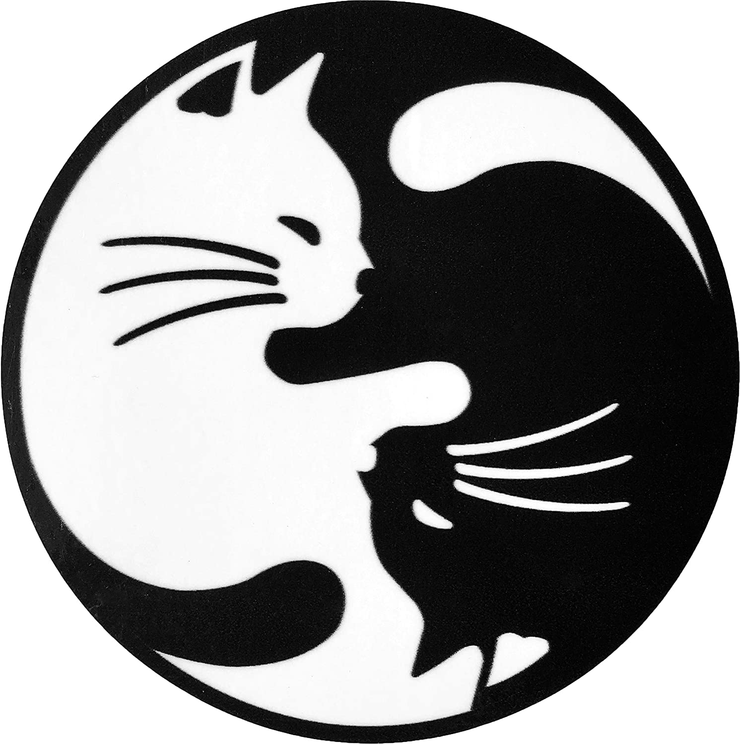 Papapatch Cat Yin Yang Kung Fu Chinese Tao Balance Sign Vinyl Window Laptop Wall Decor Decal Sticker (STK-CAT-YIN-YANG)