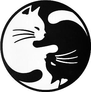 Papapatch Cat Yin Yang Kung Fu Chinese Tao Balance Sign Vinyl Window Laptop Wall Decor Decal Sticker (STK-CAT-YIN-YANG)