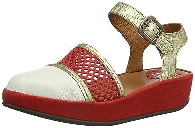 6b0c12d8 Fly London Baia, Women's Wedge Heel Sandals, Off-White/Scarlet/Gold ...