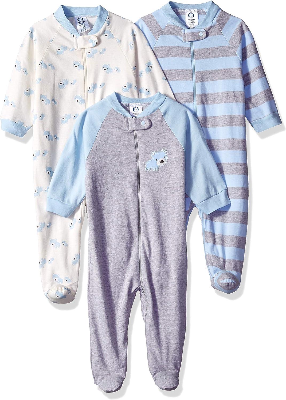 GERBER Baby Boys' 3-Pack Organic Sleep 'N Play, Stripe Bear, 6-9 Months: Clothing