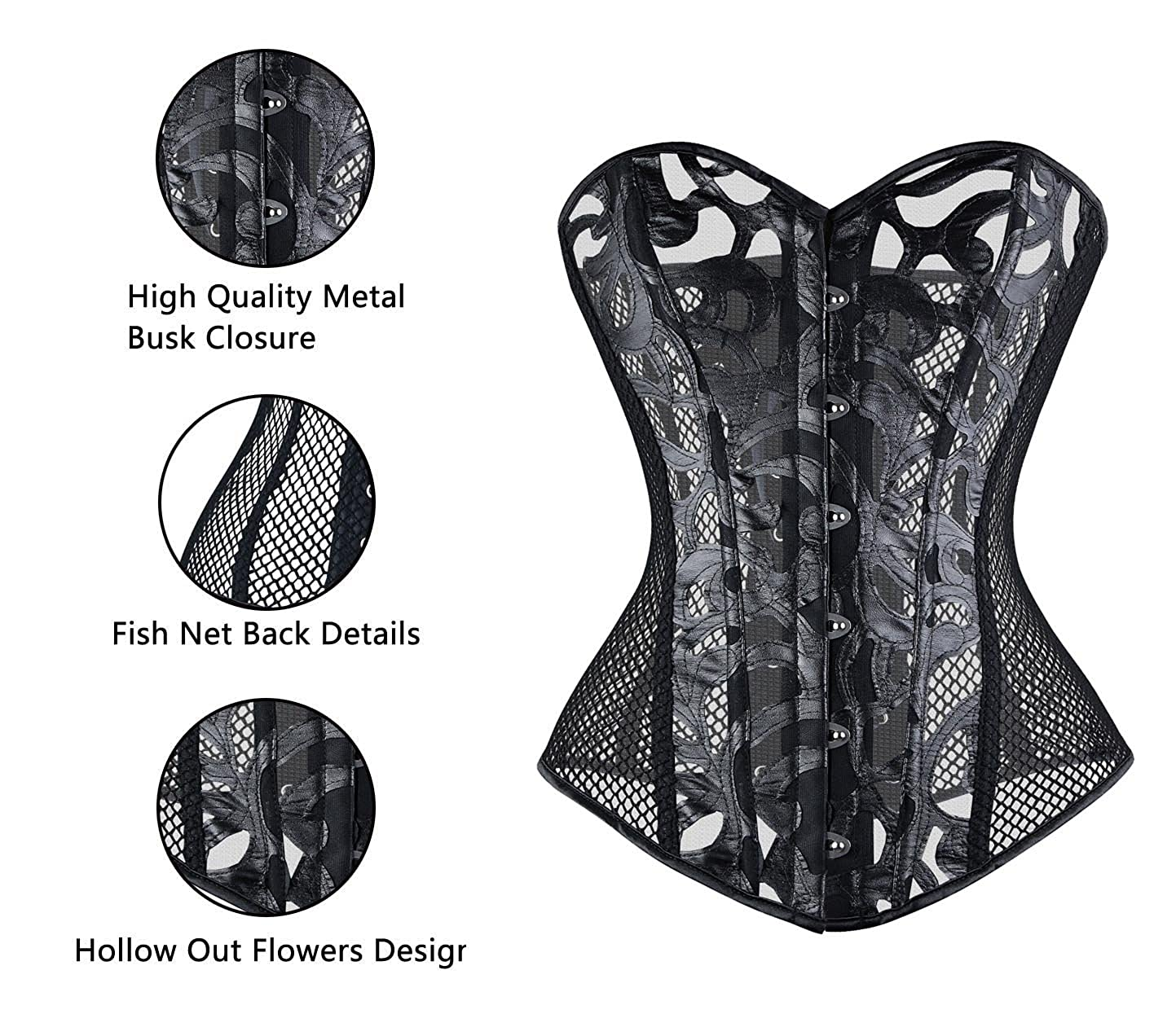 7949c94a6f6 Charmian Women s Gothic Punk Sexy Mesh Overbust Corset Bustier Body  Shapewear at Amazon Women s Clothing store