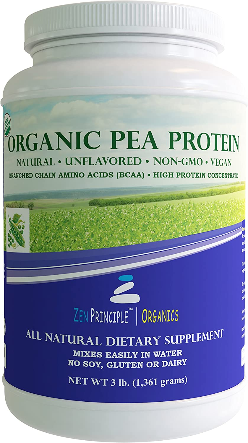 3 lb. Ultra Premium Organic Pea Protein Powder. USDA Certified ONLY from USA and Canada Grown Peas. No GMO, Soy or Gluten. Vegan. Full Spectrum Amino Acids BCAA . More Protein than Whey. 80 Protein.