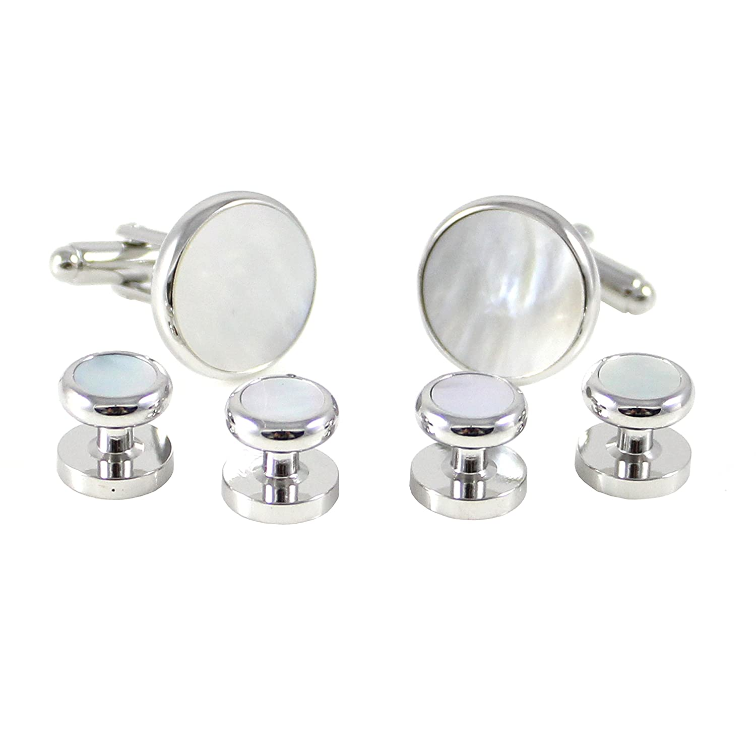 MENDEPOT Rhodium Plated Round MOP Cuff Link And Shirt Studs Formal Wear Set With Box MD0464