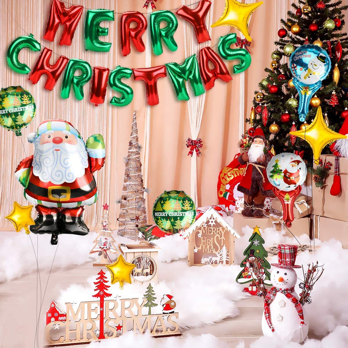 Ertisa Foil Balloons Pack Set of 25 Merry Christmas Foil Balloons Christmas Party Banner Decoration with Letter Balloons Santa Claus Balloons Christmas Party Supplies
