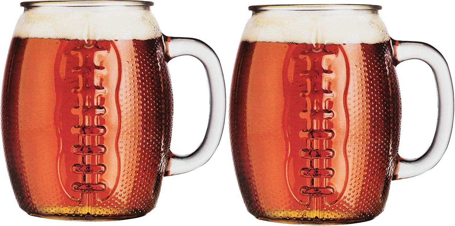Home Essentials Beer Den Glass Football Mug Den Set of 2, 37-Ounce