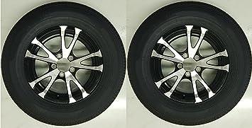 2-Pack Trailer Tire and Rim Bias Ply ST205//75D14C 14X5.5 5-4.5 Black Spoke