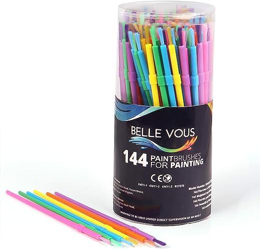 Set Pinceles para Niños (Pack de 144) - Pinceles Pintura de Plástico - Set Variado Pinceles para Temperas colores Amarillo, Rojo, Purpura, Naranja, Rosa, Azul y Verde para Proyectos Pintura Niños: Amazon.es: Hogar