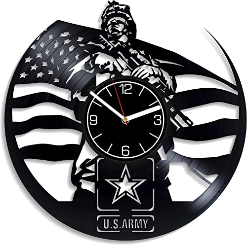 Kovides U.S. Army Vinyl Record Wall Clock USA Army Wall Art Wall Clock Large U.S. Arm Vinyl Clock Army Clock U.S. Army Wall Clock Modern U.S. Army Gift U.S. Army Home Decoration Gift