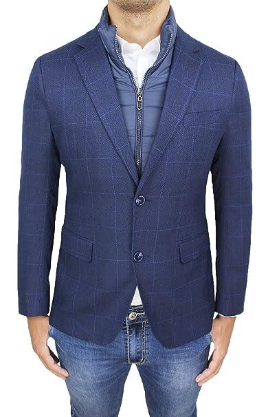 size 40 18bdb 29247 Giacca Cappotto Uomo Sartoriale Blu Quadri Formale Elegante Invernale con  Gilet Interno