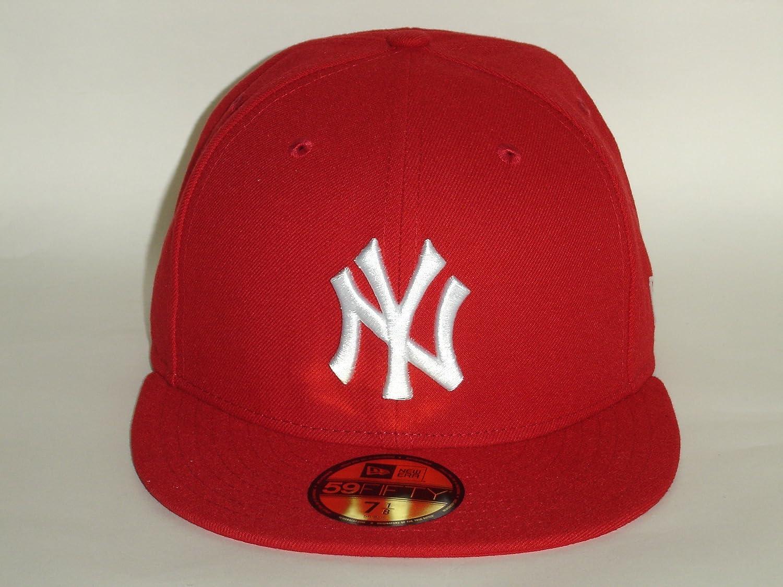 dc0c77e1da8 Amazon.com   New Era 59Fifty MLB New York Yankees Basic Red White Fitted  Cap NewEra   Sports   Outdoors