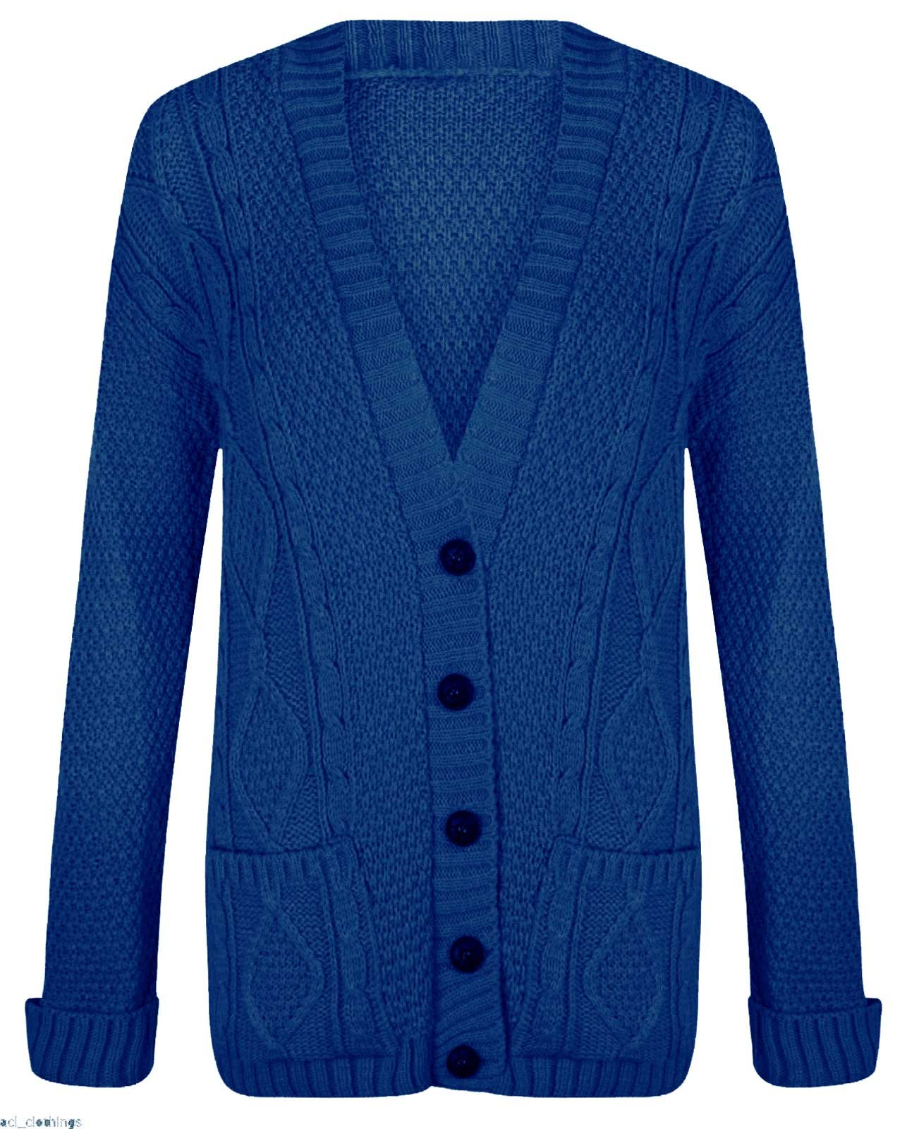 Thever Womens Ladies Long Sleeve Button Chunky Cable Knitted Cardigan Sz 8-22 (M/L(10-12), Royal Blue)