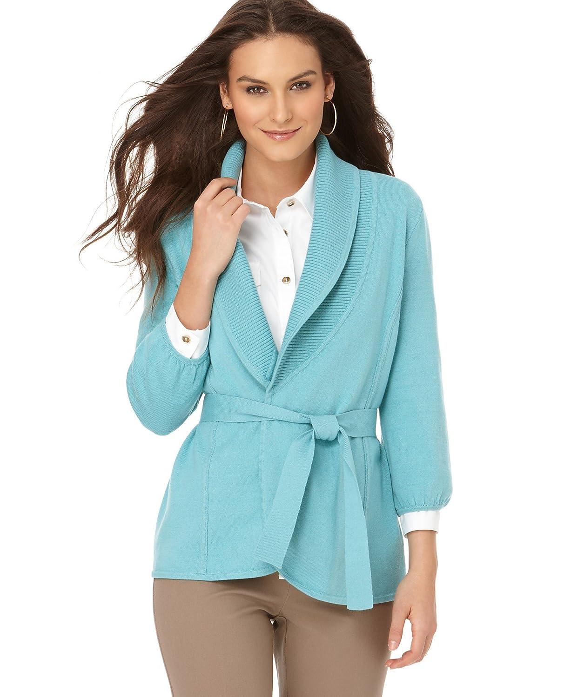 Alfani Women's Cardigan Sweater with Shawl Collar Medium Sea Spray