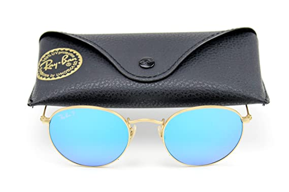 333be839b7 Ray-Ban RB3447 Unisex Round Metal Flash Gradient Sunglasses (Gold Frame Blue  Polarized
