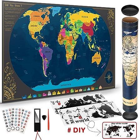Pootack Mapa Mural para Rascar del Mundo 840*420mm - Rascar Island ...