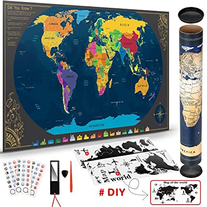Scratchable World Map With Accessories Bonus Wallpaper Map Of