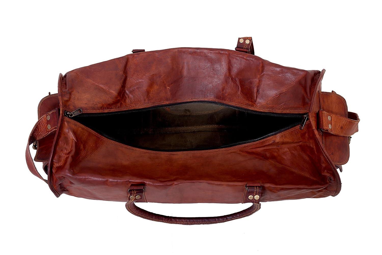 UOG 60cm Sac en Cuir V/éritable Weekender Bagages Sac de Voyage Bagage Sac de Sport Sac Polochon