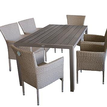 Gartengarnitur Gartenmöbel Set Gartentisch 150x90cm 6x Stapelstuhl Kunststoff