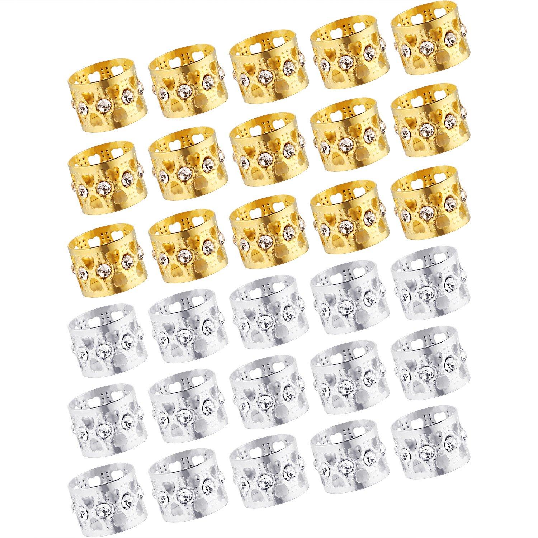 30 Piezas de Abalorios de Dreadlocks Puños de Metal Bloqueos de Dread de Aluminio Joyería de Trenzado Decoración de Pelo, Dorado y Plateado Bememo