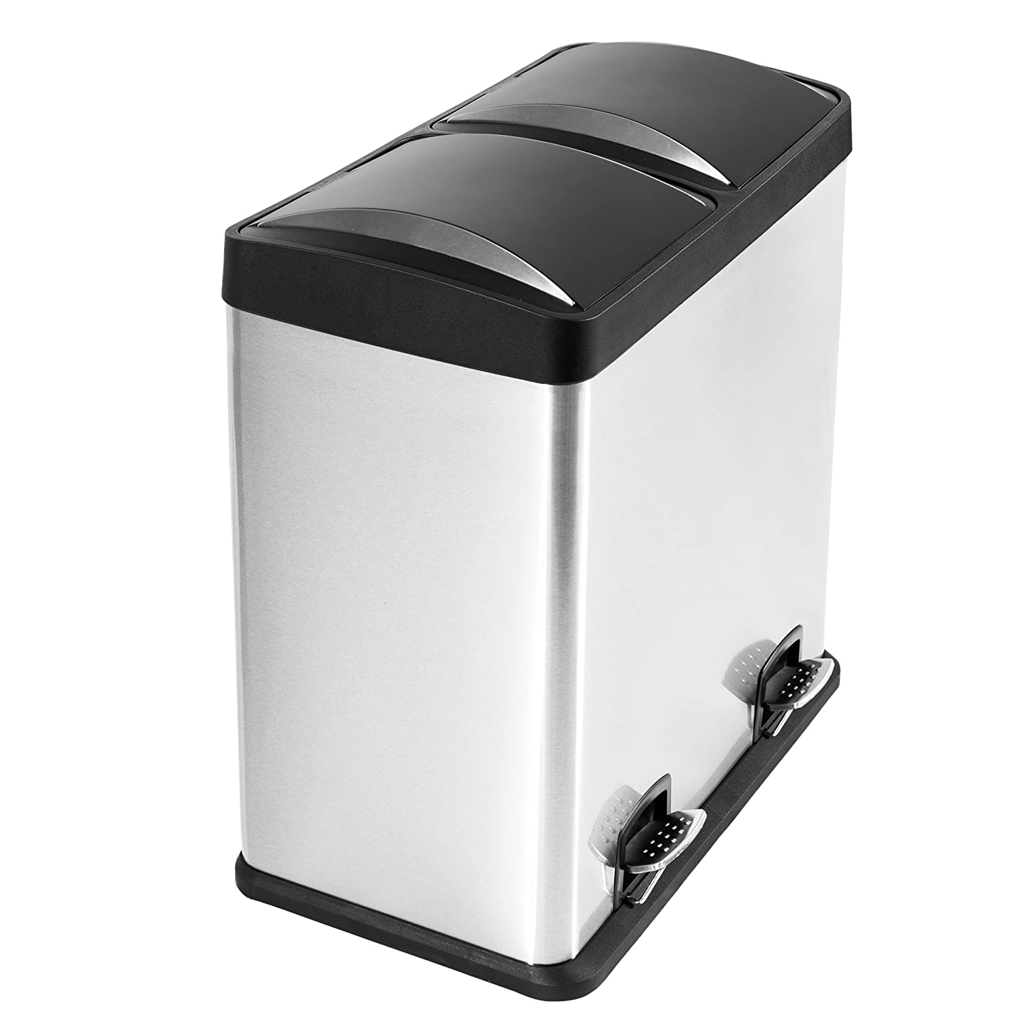 Lyndan - 60 Litre 60L Large Fingerprint Proof Pedal Rubbish Bin with ...