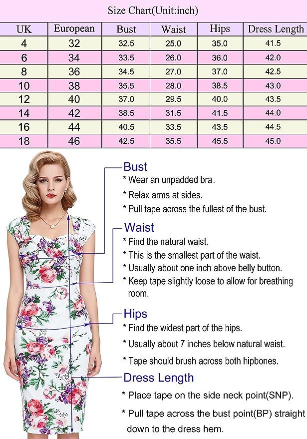 bp0117-6 Belle Poque Vestido de fiesta de la vendimia 1950 de manga corta una l/ínea camisa de oscilaci/ón para Mujeres 36 Floral-6